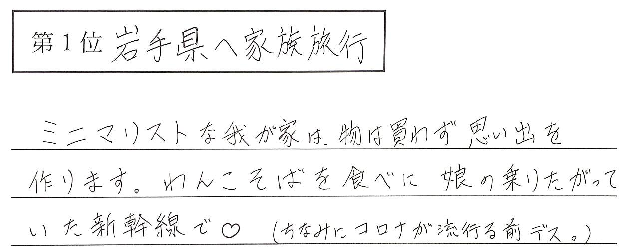兼子の回答、1位 岩手県へ家族旅行 ミニマリストな我が家は、物は買わず思い出を作ります。わんこそばを食べに娘の乗りたがっていた新幹線で♡
