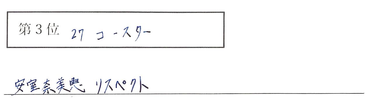 宮井の回答、3位 27コースター 安室奈美恵 リスペクト