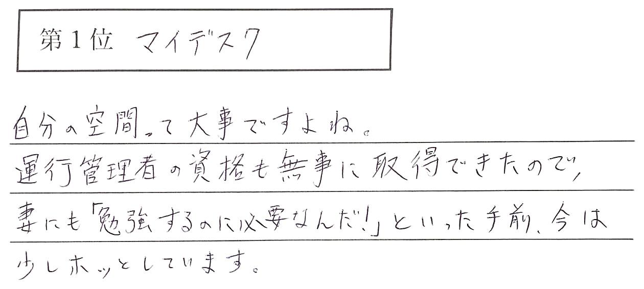 小田の回答、1位 マイデスク 自分の空間って大事ですよね。運行管理者の資格も無事に取得できたので、妻にも「勉強するのに必要なんだ!」と言った手前、今は少しホッとしています。