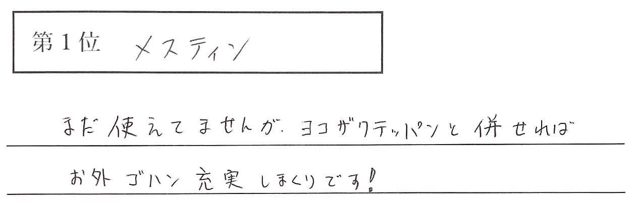 高橋の回答、1位 メスティン まだ使えてませんが、ヨコザワテッパンと併せれば、お外ゴハン充実しまくりです!