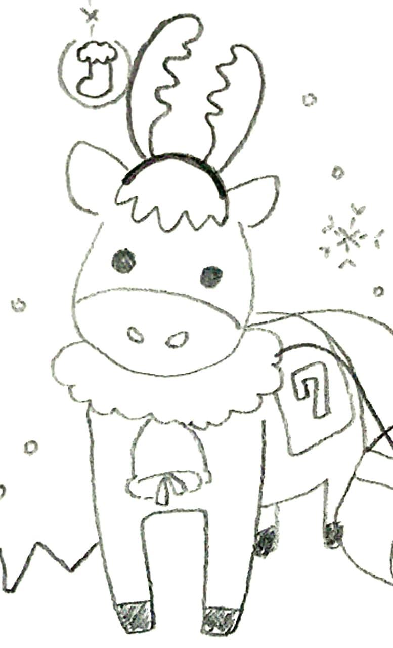 兼子画伯が描いたトナカイっぽい馬のアップ画像