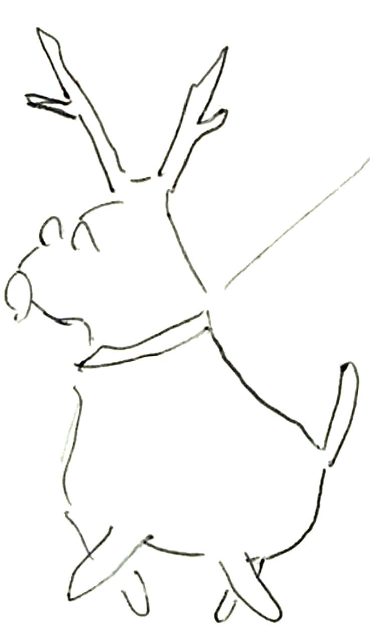 高橋画伯のトナカイのアップ画像