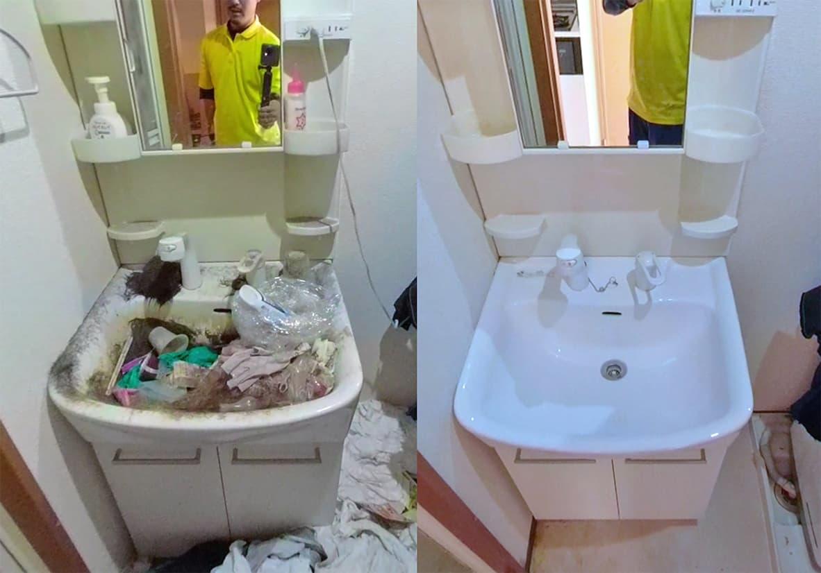 【名古屋市西区1K】片付け前の洗面台と、片付け&清掃が完了してピカピカになった洗面台の写真