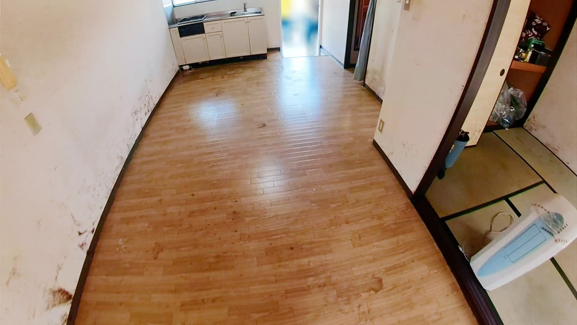 掃除後の床の写真