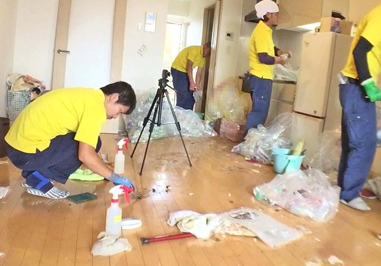 リビングの床の汚れをプラスチックヘラ等で落としている写真
