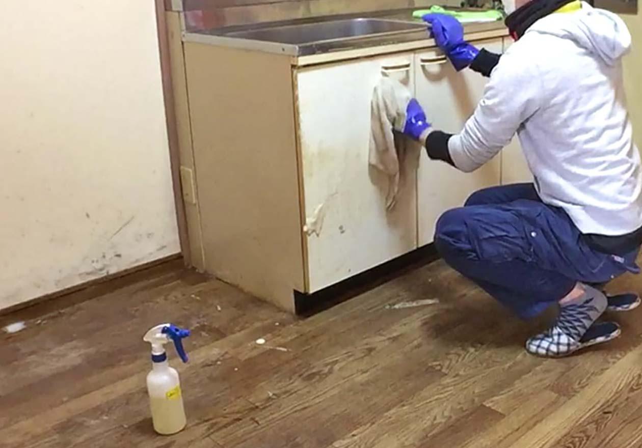 キッチンの収納棚を清掃しているスタッフの様子